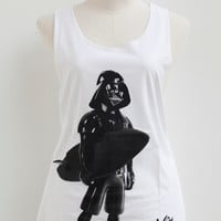 Star Wars Darth Vader on Vacation Punk Rock Tank Top Sleeveless Vest White Shirts Tunic Women Mini Dress T-Shirt Size L