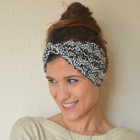 aztec tribal headband - cotton jersey stretchy aztec tribal headband yoga headband ear warmer birthday gifts valentines day gifts