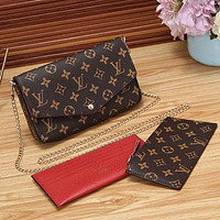 Louis Vuitton LV Women Fashion Leather Chain Satchel Crossbody Shoulder Bag Set
