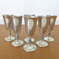 Six Revere Pewter liqueur glasses with pineapple stem