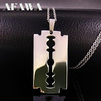 Stainless Steel Razor Blades Pendant Necklaces