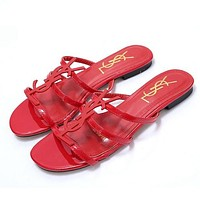 YSL new classic patent leather word with metal buckle open toe fashion flat female slippers shoes Red