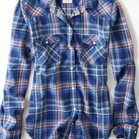 AEO Women's Plaid Western Button Down Shirt