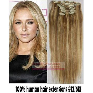 6pcs Brazilian Remy Clips In/on Human Hair Extensions
