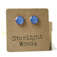 Periwinkle studs post earrings wood earrings minimalist jewelry eco fashion eco friendly unique gift for her