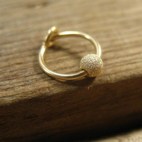 Cartilage Hoop Earrings 14k Gold Filled with 14k Gold Filled Fleck Bead 6mm SINGLE Extra Tiny Hoops Collection