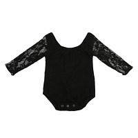 born Lace Long Sleeve Baby Girl Romper