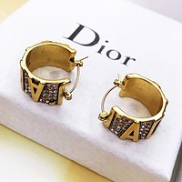 Dior Hot Sale Women Circular Diamond Pendant Earrings Jewelry