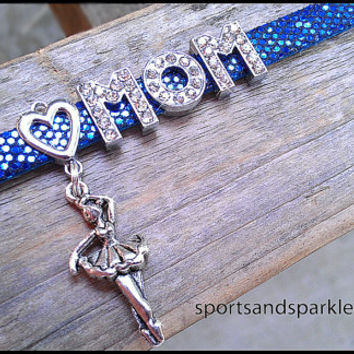 Personalized Rhinestone MOM Charm Bracelet with Heart and Hanging Charm