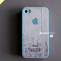 iphone case - mint apple logo on white wood with skyblue case (BlissfulCASE Yellow line)