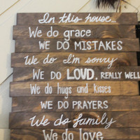 House Rules Different Fonts, Handmade Wood Signs, White Writing- Subway Font, In our house...