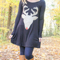 Glitter Reindeer Tunic - Black - Kids sizes to 3XL