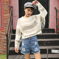 Tassel Decoration Loose Fit Knitted Cropped Sweater