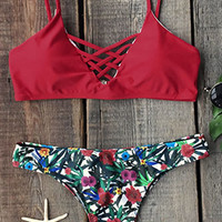 Cupshe Golden Flower Floral Bikini Set