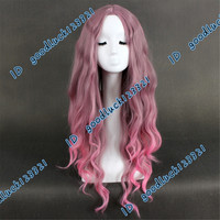 Free shipping!! 75cm mixed Flaxen pink long wavy wig Anime cosplay wig +a wig cap