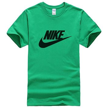 NIKE Summer New Fashion Letter Hook Print Women Men Leisure Top T-Shirt Green