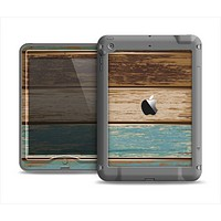 The Wooden Planks with Chipped Green and Brown Paint Apple iPad Air LifeProof Nuud Case Skin Set