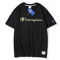 Champion New fashion camouflage letter print couple top t-shirt Black