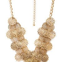FOREVER 21 Ornate Filigree Layered Necklace Antic Gold One