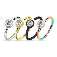 4 - Assorted Titanium IP with Clear CZ 316L Surgical Steel Nose Ring N52