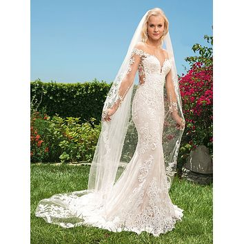 Casablanca 2356 Madelyn Illusion Lace Long Sleeve Fit and Flare Wedding Dress
