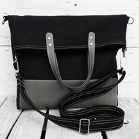 black tote bag leather canvas foldover crossbody everyday bag black gray two tone tote