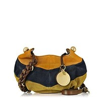 SEE BY CHLOÉ WOMEN'S 9S7868P251BHT BLUE/YELLOW SUEDE SHOULDER BAG