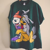 90's 80s Mickey Mouse tshirt Oversized Comfy Size Large Forest Green Slouchy Oversize Cozy Top Disneyland