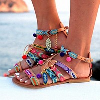 New fashion buckle flat ladies fashion colored sandals