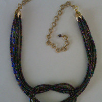Knotted Choker Necklace - From Now Until Infinity - 6 Multi-strand Black Iris Metallica Seed Beads
