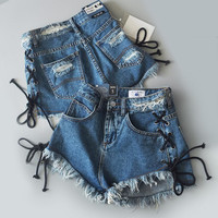 Summer Trend High Waist Side Straps Holes Denim Shorts