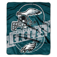 Philadelphia Eagles NFL Royal Plush Raschel Blanket (Grand Stand Raschel) (50in x 60in)