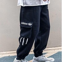 Adidas New fashion embroidery letter sports leisure pants Black
