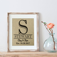 Personalized Burlap Print, Mother's Day Gift, Great for wedding gift, engagement gift, anniversary gift