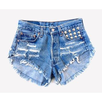 450 Stone Studded Vintage Distressed Shorts