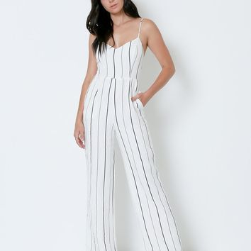 Close Up Striped Jumpsuit - Ivory/Navy