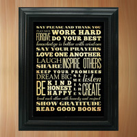 Family Rules Subway / Bus / Transit Roll / Typography Inspirational Quote Art Poster 8X10 - Wall Art Decoration - LHA-370