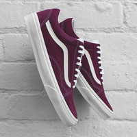 """Vans"" With Warm Casual Shoes Men and women classic black cloth shoes Wine red"