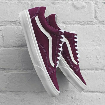 """""""Vans"""" With Warm Casual Shoes Men and women classic black cloth shoes Wine red"""