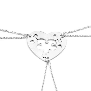 Simple Three Piece Heart Shape Puzzle Necklace Sets Puzzle Pieces Best Friend Mom&Daughter Sister Friend Gift Necklace Jewelry
