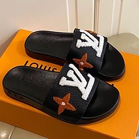 LV Louis Vuitton New Plush Embroidered Letters Men's and Women's Beach Slippers Sandals Shoes Black
