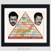 Ron Swanson Pyramid of Greatness Poster Typography Word Wall Art 11x14 Borderless Quirky Parks and Rec Poster Wall Decor Premium Print