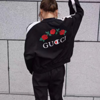 GUCCI Fashion Contracted Embroider Rose Long Sleeve Stripe Motion Two Peice