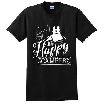 Happy camper t shirt camp camping hiking shirts funny  camp lover tee