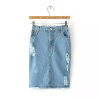 Stylish High Rise Rinsed Denim Split Denim Women's Fashion Skirt [5013289924]
