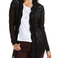 Black Pointelle & Mesh Open Front Cardigan by Charlotte Russe