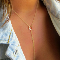 Gold Lariat Necklace, Modern Chain Lariat with Ring, Bolo Inspired Y necklace, Long Gold Chain