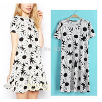 2016 Summer Women New Chic Women's Dress Sun Flower Print Short Sleeve O-Neck Pencil Dress Clubwear Dress