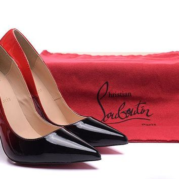 Christian Louboutin Black/Red Patent Leather High Heels 100mm
