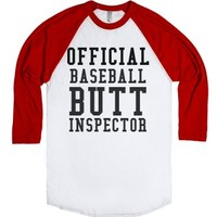Baseball Butt Inspector-Unisex White/Red T-Shirt